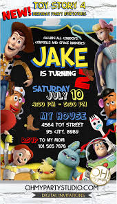 Toy Story 4 Birthday Invitation Toy Story Birthday Invitation