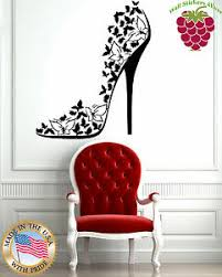 Wall Stickers Vinyl Decal Sexy High Heel Shoes Stiletto Butterflies Em506 639713320046 Ebay