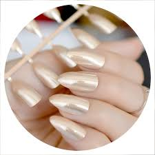 Amazon Com Mirror Silver False Nails Stiletto Point Metallic