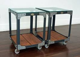 industrial glass top side tables