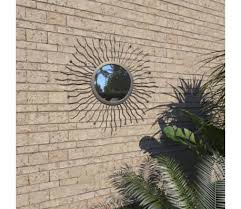wall mirror sunburst 60cm black outdoor