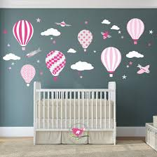 Hot Air Balloon Decal Baby Girls Wall Stickers Cerise Pink Etsy