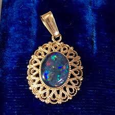 black opal pendant 14k gold
