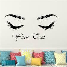 Custom Text Eyelashes Wall Decal Beautiful Lashes Wall Decor Brows Beauty Salon Studio Eyebrows Wall Sticker Art Posters Wl309 Wall Stickers Aliexpress