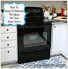 clean an oven door in between the glass