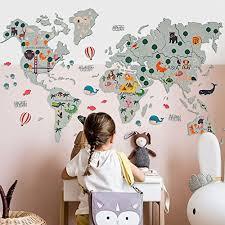 Amazon Com World Map For Nursery Wall Art Kids Room Decor Wall Print Nursery Decor Baby Room Prints Safari Nursery Baby Boy Baby Girl Gift Birthday Toddler Handmade