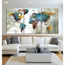Amazon Com World Map Push Pin Wall Decal With Countries World Map Canvas Print World Travel Map Watercolor Map Of The World Travel Tracker Hr92 Handmade
