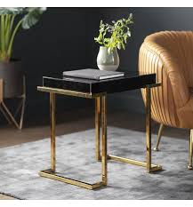 delray black mirrored side table