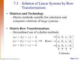 7 3 solution of linear systems by row