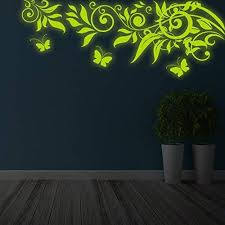 Amazon Com 39 X 15 Glowing Vinyl Wall Decal Tree Branch Leafs Butterflies Glow In Dark Nature Forest Sticker Luminescent Mural Free Decal Gift Kitchen Dining