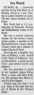 Obituary for Iva Dell Ward (Aged 93) - Newspapers.com