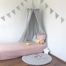 Light Gray Cotton Bed Canopy With Frills Kids Room Canopy Etsy