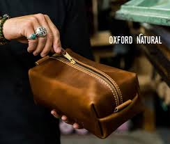 personalized leather dopp kit bag