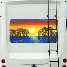 Sunset Beach Mural Tint Decal Sticker Custom Tire Covers