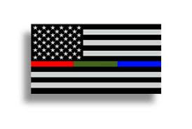 Police Fire Military Fireman Sticker Red Blue Green Usa Flag Car Window Us Decal Ebay
