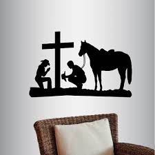 Millwood Pines Cowboy And Cowgirl Praying Kneeling Cross Horse Wall Decals Wayfair