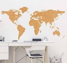 Cork Imitation World Map Wall Sticker Tenstickers