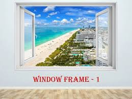 3d Window Wall Sticker Miami 3d Window View South Beach Prints Etsy