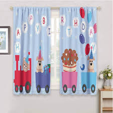 Amazon Com Dimica Room Darkened Curtain Birthday Decorations For Kids Baby Bear Dog In Train Balloons Clouds On Light Blue Backdrop Blackout Shades For Bedroom W52 X L63 Inch Multicolor Home Kitchen