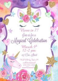 Unicorn Party Birthday Invitation Magical Celebration Invite
