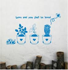 Flower Pot Potted Floral Pot Cactus Vinyl Wall Decal Sticker Living Room Bed Room Glass Window Stair On Luulla