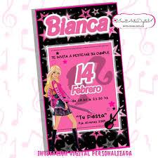 Invitacion Digital Personalizada Barbie Rockera 90 00 En