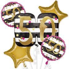 gold 50th birthday balloon bouquet