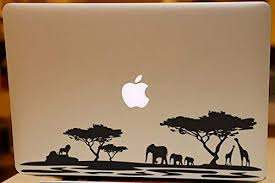 Amazon Com Africa Jungle Animals Silhouette Macbook Decal For Mac Air Pro 13 15 17 Elephant Family Giraffe Lion Laptop Sticker Wild Animals Vinyl Art Decal Black Kitchen Dining