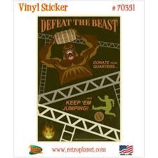 Defeat The Beast Donkey Kong Vinyl Sticker Vintage Style Video Etsy