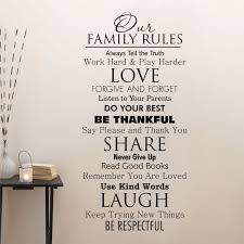 family quotes wall decal our family house rules home love