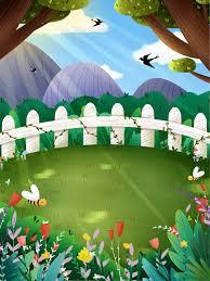 Spring Garden Background Design Garden Bee Fence Background Image For Free Download
