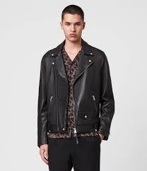 mens milo leather biker jacket black