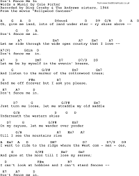 Song Lyrics With Guitar Chords For Don T Fence Me In Bing Crosby With The Andrews