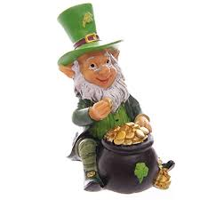 four lucky irish leprechaun figures