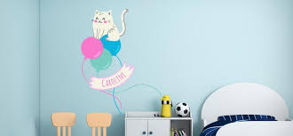 Custom Name Beautiful Cat And Balloons Wall Decal Egraphicstore