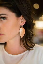 leaf earrings rose gold joanna gaines