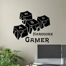 Hardcore Gamer Wall Decal Keyboard Keys Gaming Words Vinyl Window Sticker Video Game Teens Boys Bedroom Playroom Home Decor E076 Wall Stickers Aliexpress