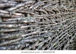 Texture Wooden Fence Woven Twigs Rod Objects Stock Image 694104436