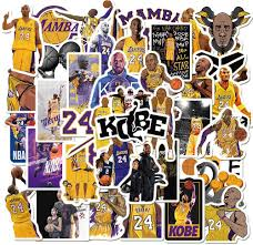 Amazon Com Basketball Star Stickers Kobe Black Mamba Sticker Small Decal 50 Pack For Laptop Cars Water Bottles Stickers Kitchen Dining