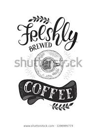 banner coffee quotes handdrawn lettering decoration stock