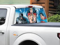 Product Batman Superman Wonder Woman Dc Comics Rear Window Decal Sticker Pick Up Truck S Rear Window Decals Batman Superman Wonder Woman Superman Wonder Woman