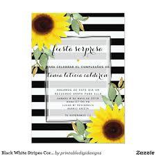 Invitacion Moda Floral De Los Girasoles De La Esquina Blancos