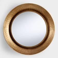 hammered gold round mirror round gold