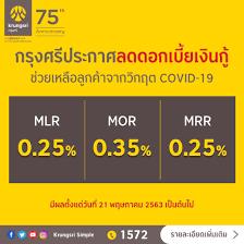 กรุงศรีประกาศลดอัตราดอกเบี้ยเงินกู้ MLR, MOR และ MRR มีผล 21 พ.ค. นี้ -  Marketeer Online