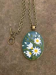 polymer clay jewelry flower pendant
