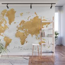 For God So Loved The World World Map In Gold Wall Mural By Blursbyaishop Society6