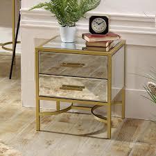 gold framed mirrored bedside venus