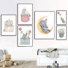 Rabbit Nursery Decor Childrens Print Elephant Poster Kids Room Wall Art Picture Pd2635 Buy At The Price Of 2 20 In Aliexpress Com Imall Com