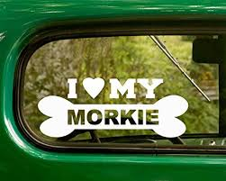 Amazon Com 2 Morkie Dog Breed Decals I Love My Dog White Sticker For Car Truck Window Jeep Rv Laptop Bumper Motor Home Home Kitchen