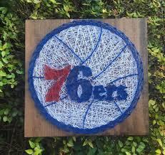 Philadelphia 76ers Basketball String Art Wood Sign Wall Art Etsy
